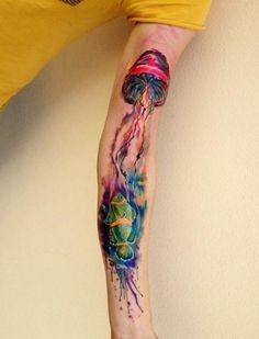 Tattoo Акварельная медуза - tattoo's photo In the style Watercolor, Jellyfish Tattoos For Women Small, Small Tattoos, Tattoos For Guys, Cool Tattoos, Tattoo Design Drawings, Tattoo Sketches, Hand Tattoos, Sleeve Tattoos, Tattoo Sleeves