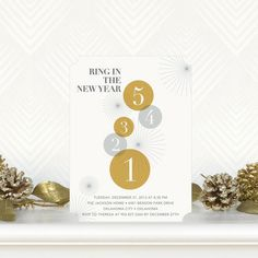 Now the 'Countdown Begins' with these Flat Holiday Party Invitations in Marigold Yellow. #NYE