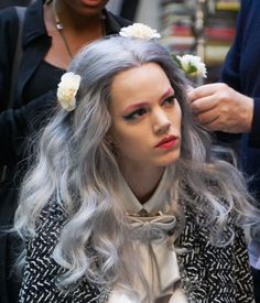 white grey hair, flowers