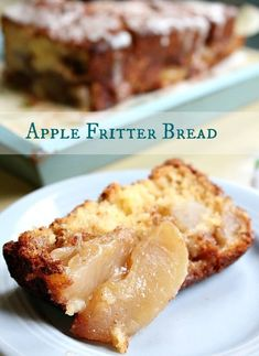 Apple Fritter Bread is a full of all of the apple and cinnamon goodness of apple fritters in the form of a quick bread. It's a delicious addition to breakfast, brunch, or as an afternoon snack. Once cooled it is drizzled with a pecan whiskey glaze. Apple Desserts, Köstliche Desserts, Apple Recipes, Bread Recipes, Dessert Recipes, Potluck Recipes, Autumn Desserts, Party Recipes, Family Recipes