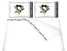 NHL Pittsburgh Penguins Hockey Set of 2 Logo Pillow Cases Boys Bedding Sets, Sports Bedding, Nhl Penguins, Pittsburgh Penguins Hockey, Penguin Bedding, Disney Wall Decor, Queen Bed Sheets, 2 Logo, Team Logo