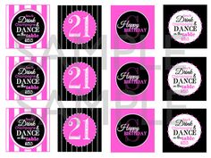 Time to Drink Champagne & Dance on the Table 21st Birthday Printable Cupcake Toppers / Party Tags by TheSubtleStatement, $8.00