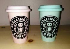 Skellington Coffee Mug  Ceramic Travel Mug  by UntamedCustomGifts