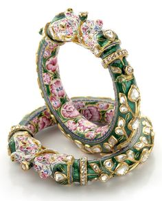 Pink and Green Enamel Bangle Pair of Elephant Design with Uncut Diamonds from Bhuramal Rajmal Surana Jaipur