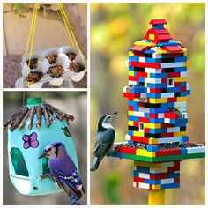 18 totally awesome bird feeder crafts for kids. I love the Lego bird feeder! Crafts For Kids To Make, Diy Crafts For Kids, Crafts To Sell, Kids Diy, Bird Feeder Craft, Bird Feeders, Peanuts, Ideas 2017, Lego