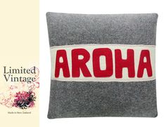 Wool blankets become upcycled cushion covers with Kiwiana flair! Love it!