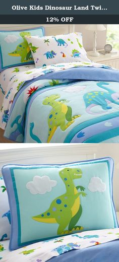 Olive Kids Dinosaur Land Twin Comforter Set. Olive Kids Dinosaur bedding pattern will make kids roar with delight. Our quilted comforter features rows of large adorable dinos including a Brontosaurus and T-Rex. Between the rows are stripes of Dino footprints. Dino Sham features our spotted T-Rex with embroidered details and soft plush clouds.