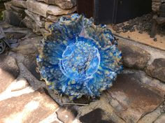 Bowl by Susan Garrett Mayco Blue Azure with black on top