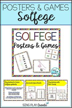 Kodaly Solfege sign Room Decor with fun learning Games in bright primary colors to spark learning!