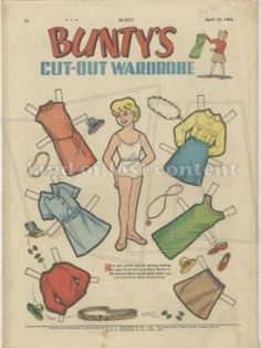 1965 Bunty magazine, back cover. Cut-out dolls clothing