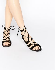 Image 1 of New Look Lace Up Flat Sandal