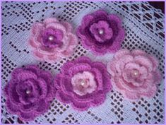 Crochet Diy, Crochet Chart, Crochet Motif, Crochet Patterns, Ribon Flowers, Diy Flowers, Fabric Flowers, Appliques Au Crochet, Crochet Crowd