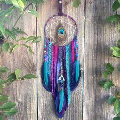 Peacock Dream Catcher, Boho Dreamcatcher, Peacock Decor, Feather Wall Decor, Boho baby - Nursery Decor - Baby Shower Gift by InspiredSoulShop on Etsy