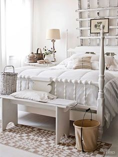 Shabby Chic White Bedroom with Spindle Bed