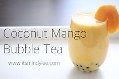Coconut Mango Bubble Tea Mango Milk Tea Recipe, Coconut Bubble Tea Recipe, Milk Tea Recipes, Mango Tea, Drink Recipes, Boba Smoothie, Tea Smoothies, Bubble Drink, Bubble Milk Tea