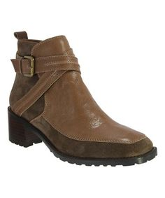 Love this Coffee Tiberia Glazed Leather & Suede Ankle Boot on #zulily! #zulilyfinds
