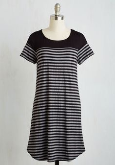 Shift Your Attention Dress - Knit, Multi, Black, Stripes, Print, Casual, Shift, Short Sleeves, Good, Mid-length, Jersey
