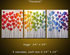 If you click on each main image, it will open up a new window with a larger view to see even more detail.    ------------------------------------------------------------  ------------------------------------------------------------    Title.........Fantasia  Size..........24 x 54 ...You are buying all 3 canvases!  Medium........Professional grade acrylics on gallery-wrapped 100% cotton canvas over wooden stretcher bars (staples are on back, not on sides). The background of this piece is pure…