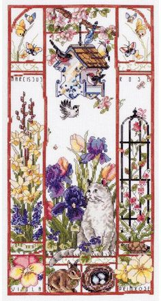 Spring Cat Sampler - Cross Stitch Kit
