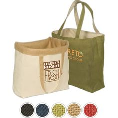 Streamline shopping experiences with a single, reusable bag that both looks great and offers valuable eco-oriented branding that will raise your brand's green profile while providing excellent visibility. These reversible totes are made using jute fabric and 6 oz. of natural cotton lining for a look that's both promotional and reversible. Fortify your brand's eco-friendly reputation with the Eco-Responsible (TM) product, all while enjoying the purchase confidence that ...