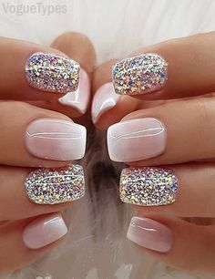 Nail Designs Glitter Gallery milky white ombre glitter nail designs images for ladies Nail Designs Glitter. Here is Nail Designs Glitter Gallery for you. Nail Designs Glitter pink and golden glitter nail designs on stylevore. Fancy Nails, Trendy Nails, Cute Nails, White Sparkle Nails, Pink Glitter Nails, Glitter Nail Tips, Stylish Nails, Gliter Nails, White Gel Nails