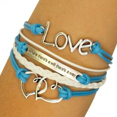 """Blue """"Where There's a Will There's a Way"""" Arm Party Bracelet"""