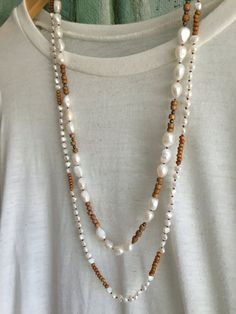 Large Freshwater Pearl and Wood Necklace Hand by GirlwiththePearl1
