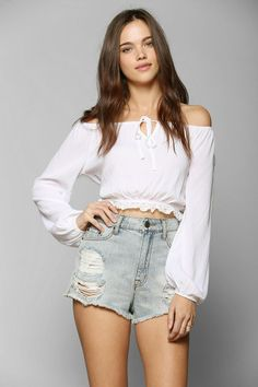 Pins And Needles Cropped Gauze Blouse #urbanoutfitters