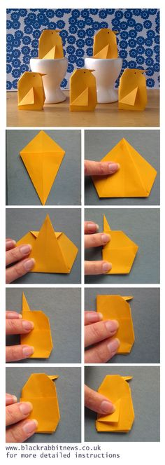 Origami Easter Chick tutorial by The Black Rabbit, see our blog www.blackrabbitnews.co.uk for more instructions. #chick #easter #tutorial #make #handmade #paper #origami