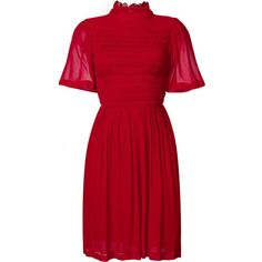 Alexa Chung smocked dress ($785) ❤ liked on Polyvore featuring dresses, red, smock dress, rayon dress, viscose dresses, smocked dresses and red dress