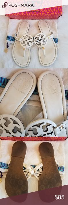 611bbba21 TORY BURCH White Miller Sandals Authentic BURCH White Miller Sandals
