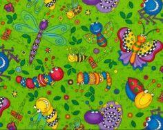 Baumwollflanell HAPPY BUGS mit allerlei Insekten und Krabbeltieren, grasgrün-lila-gelb