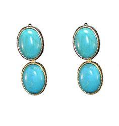 Brinco folheado a ouro com duas pedras em formato oval na cor azul turquesa. http://matka.com.br/brincos/brinco-dois-circulos.html