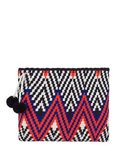 Sophie Anderson Lia Zig Zag Fabric Zip Top Clutch: The color way on this holiday-ready clutch is vibrant and uplifting. Hand-woven from cotton with double pom detail. Measures: 11 by 9 . In navy/white/orange. Tapestry Crochet Patterns, Crochet Quilt, Crochet Motif, Crochet Clutch, Tapestry Bag, Modern Crochet, Knitted Bags, Crochet Bags, Handmade Bags