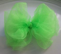 Summer Lime Green Tulle Hair Bow Green Hair Bow by SherryLPhillips, $2.50