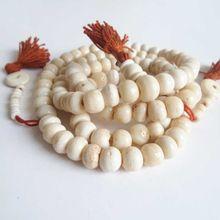 BRO814 Tibétain Chapelet 108 Beige Wihte Yak os Perles de Prière Mala Homme Amulette Collier Bouddhiste(China (Mainland))