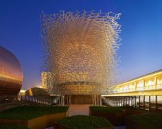 the UK pavilion presents a giant aluminium beehive at expo milan 2015