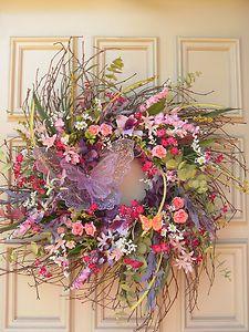 diy+summer+wreaths   Beautiful spring Summer Front Door Wreath - Twig - Pinks, Lavenders ...