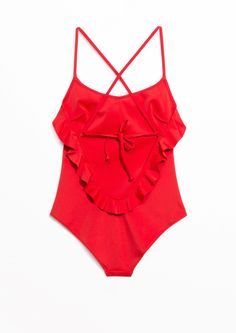 & Other Stories image 2 of Frill Swimsuit in Red