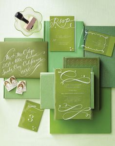 White Calligraphy Rubber Stamped onto Clear Invitation Overlays; so simple and beautiful!