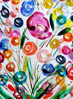 Fleurs Aquarelle Originale Fleurs Peinture Art Contemporain Nature Décor Rose Orange : Peintures par celine-artpassion