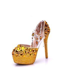 d211bac6891 Golden Yellow Wedding Shoes for Women Rhinestone Stiletto Heel Platform  Pumps