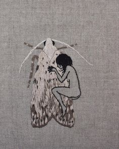 """adipocere: """" Goth girls, moth girls. Hand embroidery on natural linen. """""""