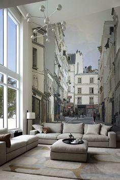 Il soggiorno vi sembra troppo piccolo? Aprite le porte alla Città! Ecco un esempio di come aumentare la prospettiva di una stanza. Molto altro ancora su: http://homerestyle.blogspot.it