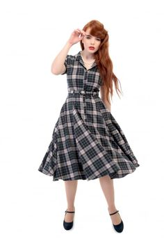 fe8029aa62df Collectif Vintage Caterina Sherwood Check Swing Dress