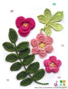 Flowers & Leaves from Russian crocheters. I wish I could crochet by charts. Wish I could understand Russian.