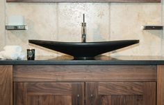 Stonearth Walnut vanity unit with black granite basin and worktop