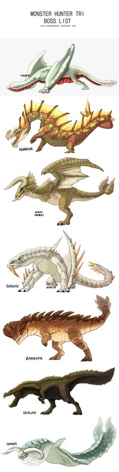 Monster Hunter Tri Boss List by macawnivore on DeviantArt Monster Hunter Art, Monster Art, Creature Feature, Creature Design, Beast Creature, Dragons, Fantasy Beasts, Creature Concept Art, Creature Drawings