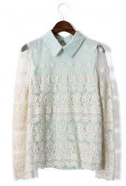 Floral Crochet Lace Peter Pan Top