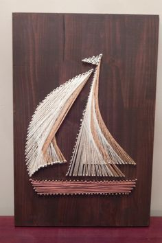 "Sailboat String Art- 12""x17 3/4"" by StrungBySteel on Etsy https://www.etsy.com/listing/254627682/sailboat-string-art-12x17-34"